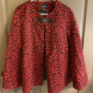 Red and black animal print winter cape